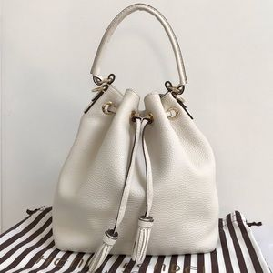 "HENRI BENDEL ""Bedford"" Bucket Bag w/ Tassels+Strap"